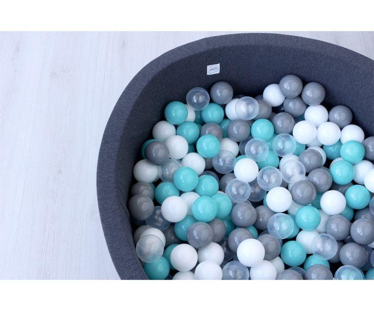 Piscina de Bolas para Bebé Minibe Gris Oscuro Transparente, Blancas, Turquesa y Gris