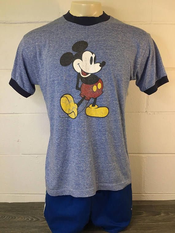 6fb620d7 MICKEY MOUSE Ringer 80's Vintage Shirt/ Heather Blue Super | Mickey ...