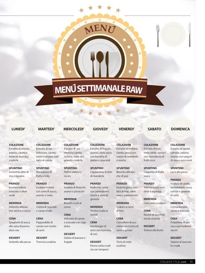RAW menu settimanale