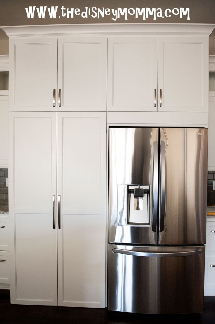 French door vs side by side - White Kitchen Cabinets Lg French Door Refrigerator With Hidden Walk In Pantry More