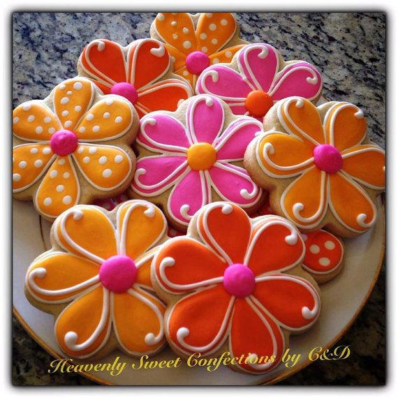 Spring Flower Sugar Cookies~              By Heavenly sweet confections, pink, Orange, polka dot