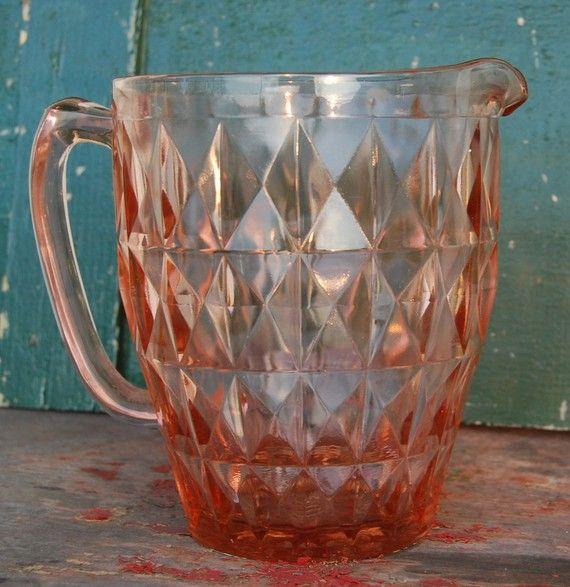 Lovely Vintage Pink Depression Windsor Glass Pitcher