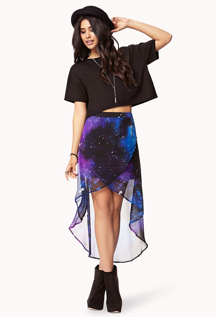 Cosmic Layered High-Low Skirt | FOREVER21 This #HighLow #Skirt is out of this world! #SemiSheer
