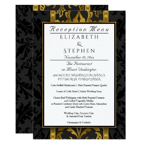 741 best formal wedding invitations images on pinterest formal formal wedding menus vintage floral damask wedding reception menu card stopboris Images