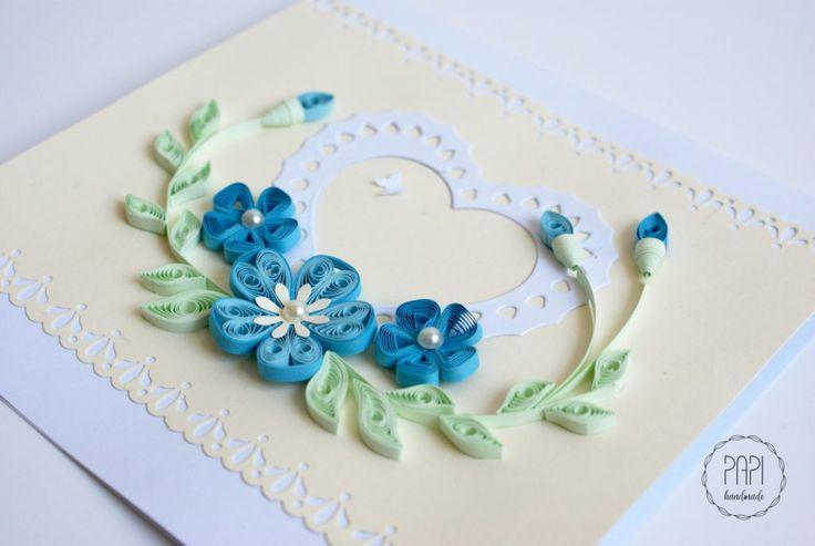 kartka na rocznicę flowers handmade