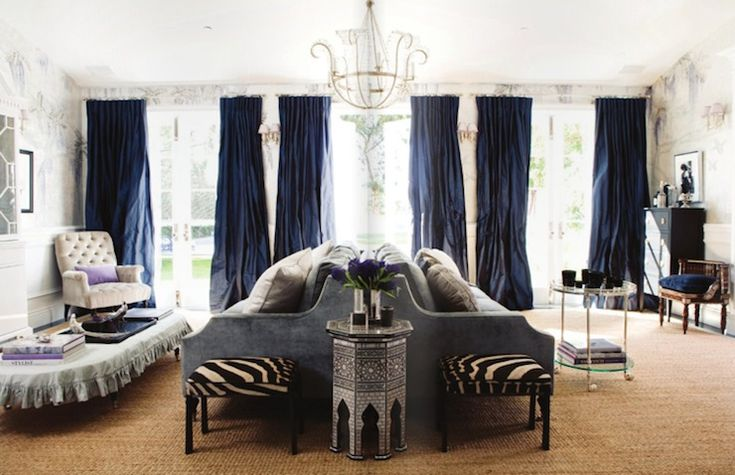 Royal Blue Chic Living Room Design With Silk Pinch Pleat Drapes Velvet