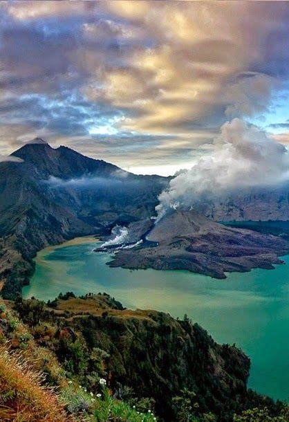 Lombok, Indonesia | Pictured is Gunung Rinjani National Park, which covers an immense 41,330 hectares and consists of incredible mountainous sectors different than many other spaces in the world.