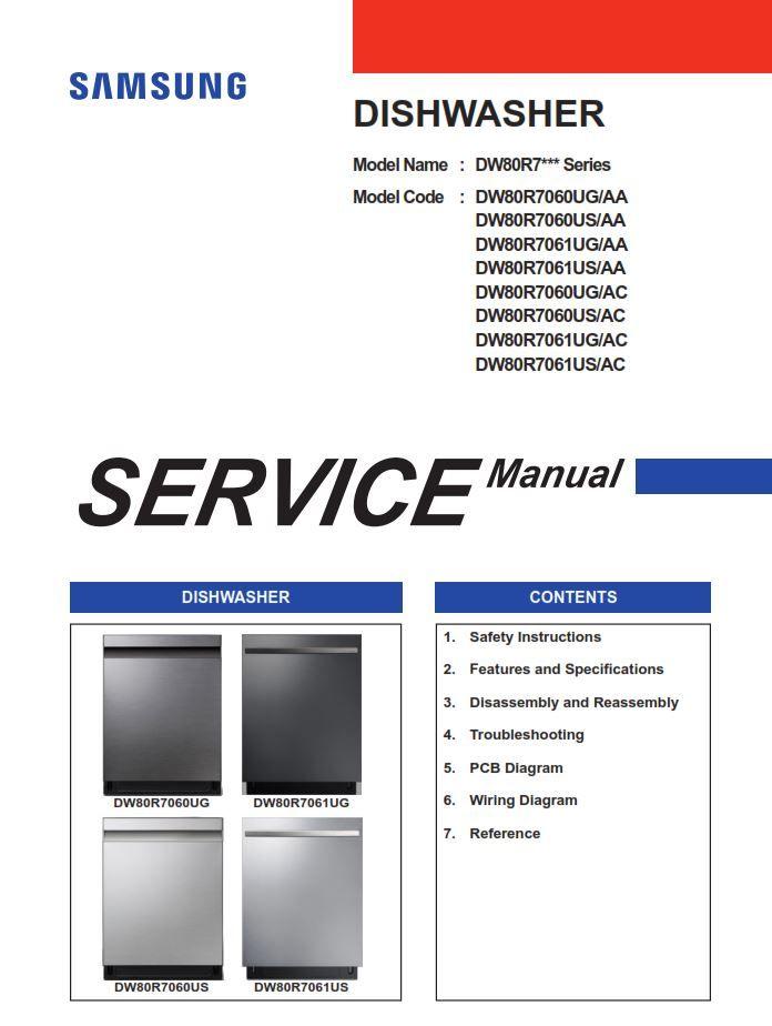Samsung Dw80r7060ug Dw80r7060us Dw80r7061ug Dw80r7061us Dishwasher Service Manual Disassembly Dishwasher Service Samsung Dishwasher