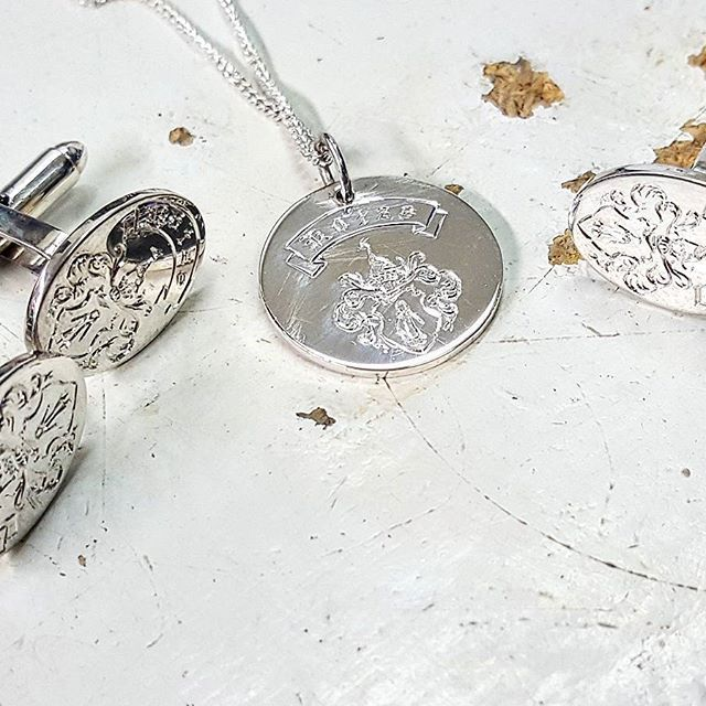 2 pairs of sterling silver cufflinks & a pendant hand engraved with a family crest. I love being a part of items that will be passed down, and that carry meaning to those that wear them!