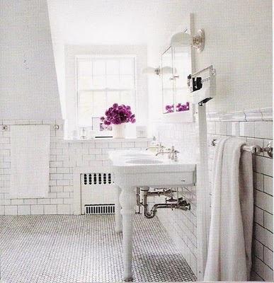 honeycomb tile floor, subway tile walls