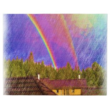 A drawing made out of a photo. Here you can see the roof of a garage and a yellow house and garage. Two rainbows in the sky with some cloud and a forest in the background. #rainbow #rainbows #colorful-rainbow #house #home #yellow-house #forest #modern-drawing decorative-photo