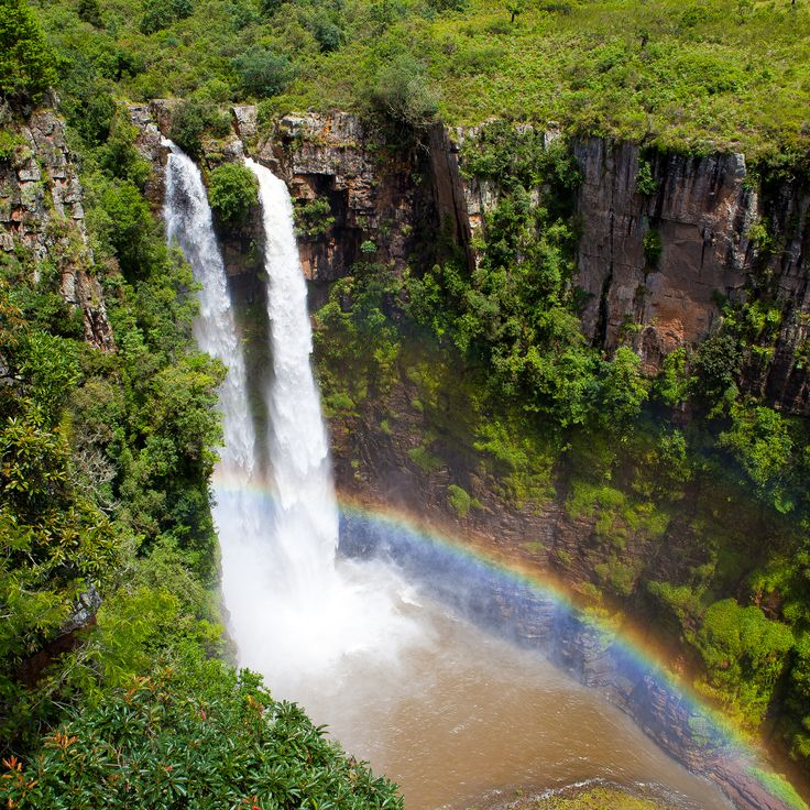 SOUTH AFRICA THE BEAUTIFUL :: Panorama Waterfalls :: The Mac Mac Falls (South of Graskop ) - The 65 metres (213 ft) high Mac Mac Falls in the Mac Mac River has been declared a National Monument. This waterfall was originally a single stream, but gold miners blasted it with dynamite to divert the river in an attempt to work the rich gold-bearing reef over which it plunges.