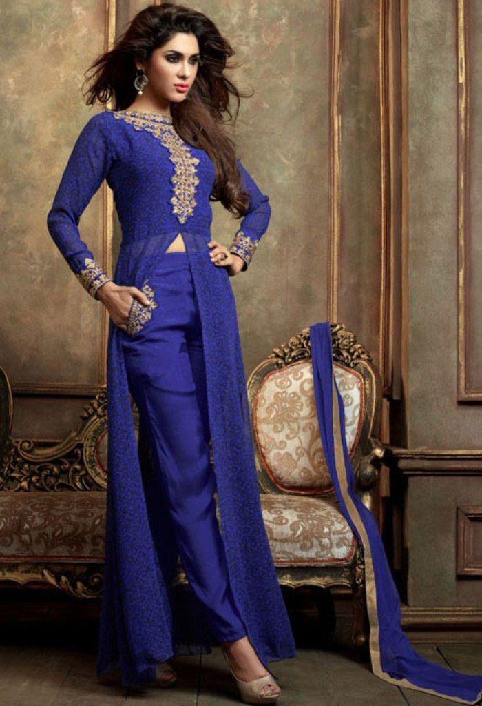 Blue Designer Georgette Salwar Kameez 34887