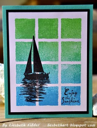 handmade card ... inchies squares stamp with sponged on blend of water and foliage colors ... sailboat silhouette stamped in black on top ... like the little sentiment filling the bottom right square ... luv it!