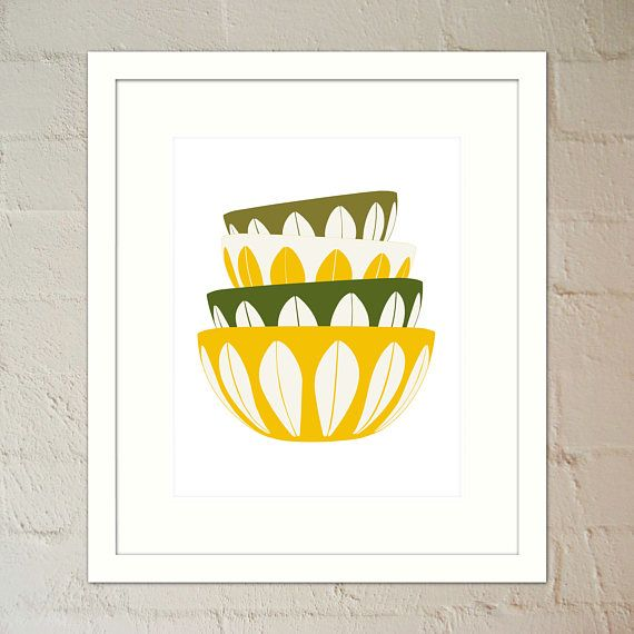4 Stacked Cathrineholm Bowls in yellow & green Kitchen Art
