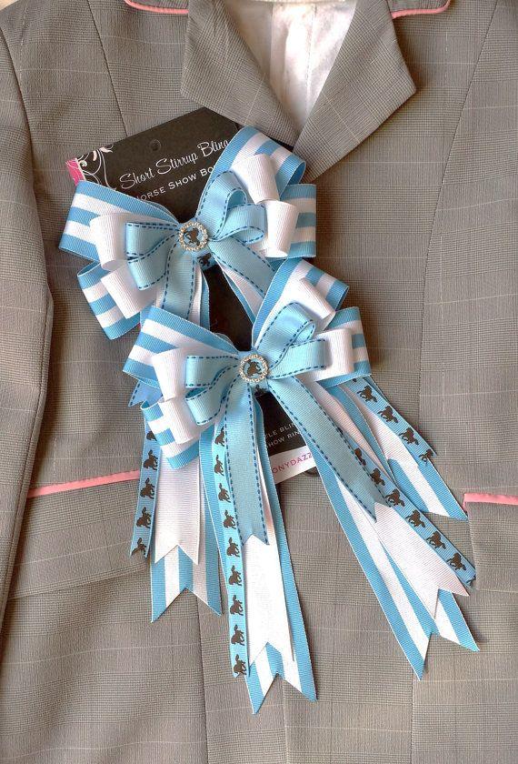 Pair of Medium Horse Show Bows w/ Tails -- Blue White || pony kid || ShortStirrupBling on Etsy