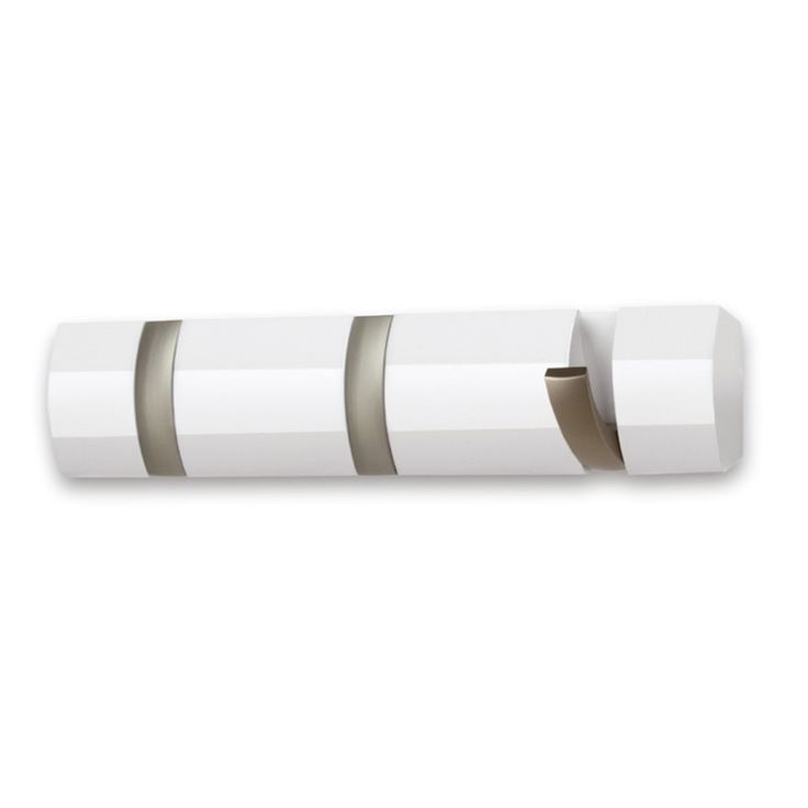 Umbra - Flip Hook 3er Garderobenleiste, glänzend weiß Weiß T:7 H:4 B:33