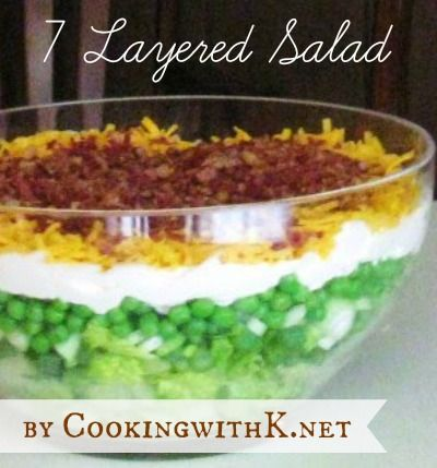 There are no rules for this 7-Layer Salad but english peas are traditional! Start off with iceberg lettuce and add thinly sliced celery, thinly sliced green onions, frozen english peas, mayonnaise, shredded cheddar cheese and crumbled fried bacon. www.cookingwithk.net