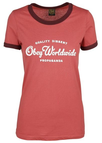 Tee-shirt col rond sérigraphié Rouge by OBEY