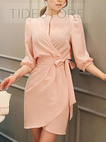 Elegant High Neckline Long Sleeve Short Dress