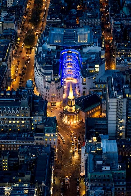 View of the BBC Studios, London and All Soul's Church | Aerial Photography - LONDON (by Jason Hawkes)
