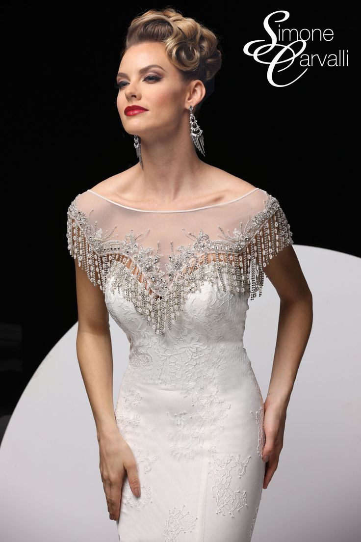 Simone Carvalli wedding gown - fringe beaded removable capelet with bateau neckline
