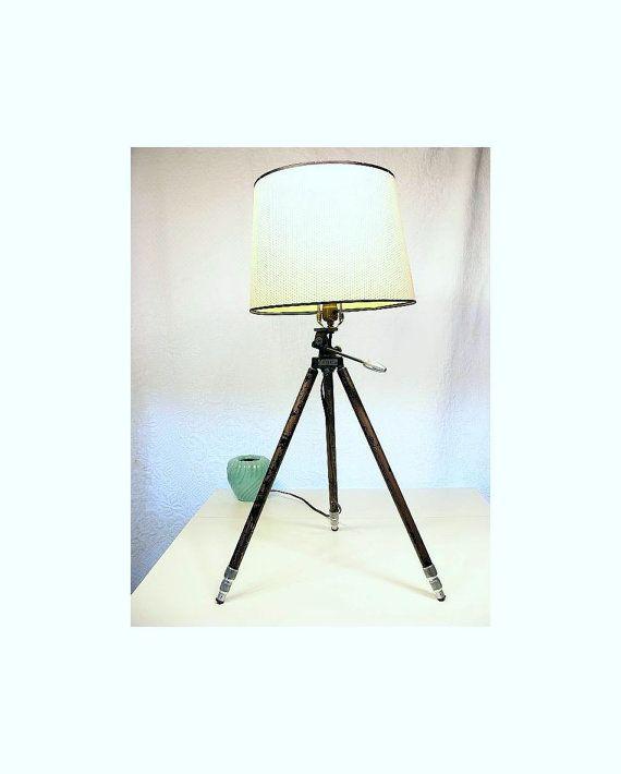 Camera Tripod Lamp Vintage Repurposed Lighting