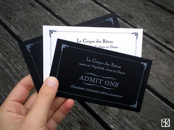 "Night Circus Tickets....  how evil would it be of me to include ""tickets"" with the invitations to be presented at the door to gain admittance to our wedding? I'm really concerned about crashers..."