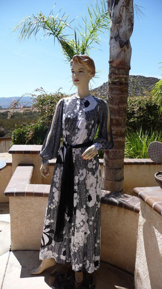 Vintage 1970's Kamehameha Black And White Floral Hawaiian Long Nylon Dress ~ Black Belt ~ Long Slit Sleeves And Zips Up Back ~ Size Medium