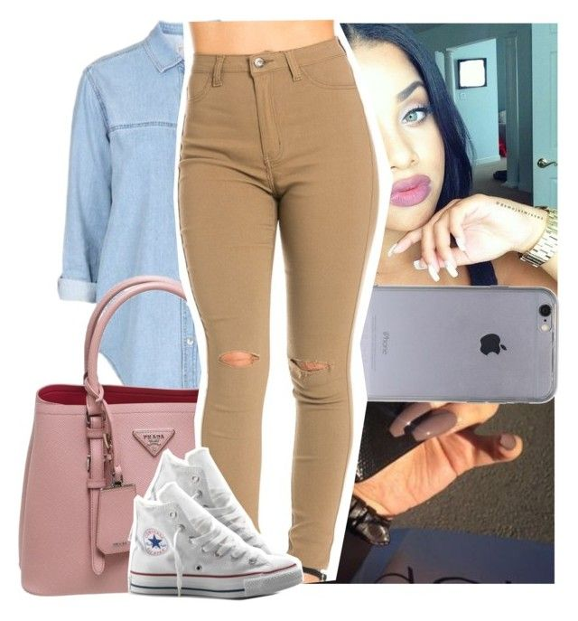 """Whole time i've been thinkin bout you.."" by theyknowtyy ❤ liked on Polyvore featuring Topshop, Prada and Converse"