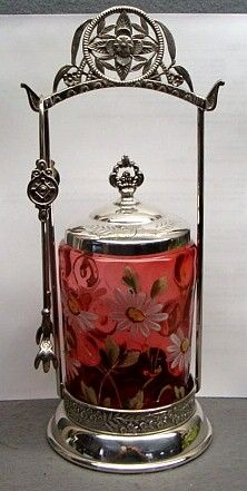 Victorian Cranberry Glass & Silver Plate Pickle Castor Ca. 1890