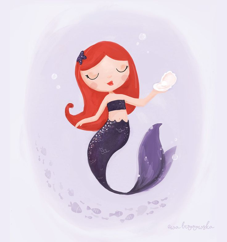 Mermaid – Ewa Brzozowska  Illustration of watercolour redhead mermaid. Purple and ginger color palette - because not every girl illustration has to be pink ;)
