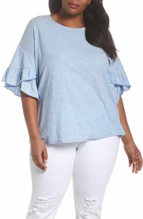 d3c60571ff2 Vince Camuto Drop Shoulder Tiered Ruffle Sleeve Top (Plus Size ...