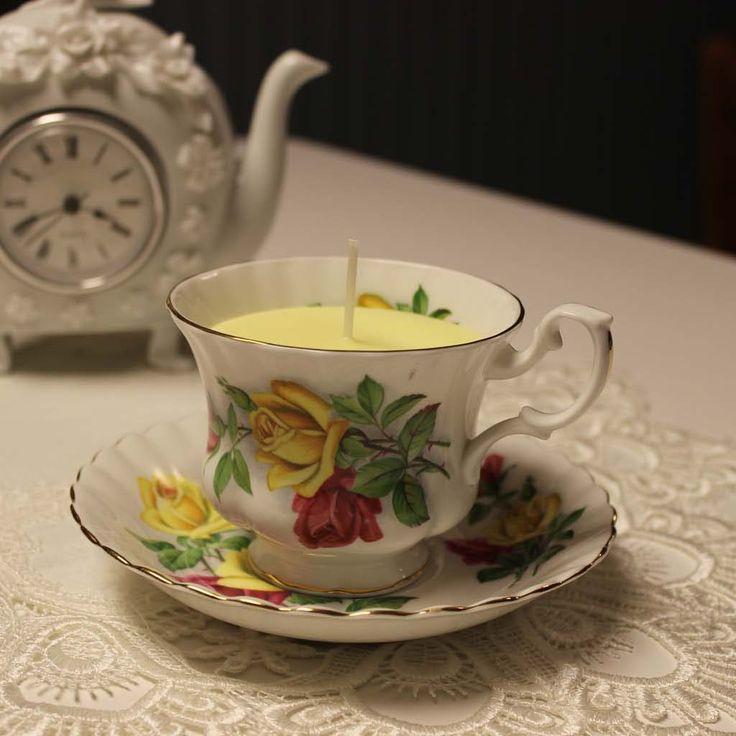 Teacup 0043 Tea Garden Scent  Lemongrass & Vanilla essential oils | Beautiful Daisy Designs