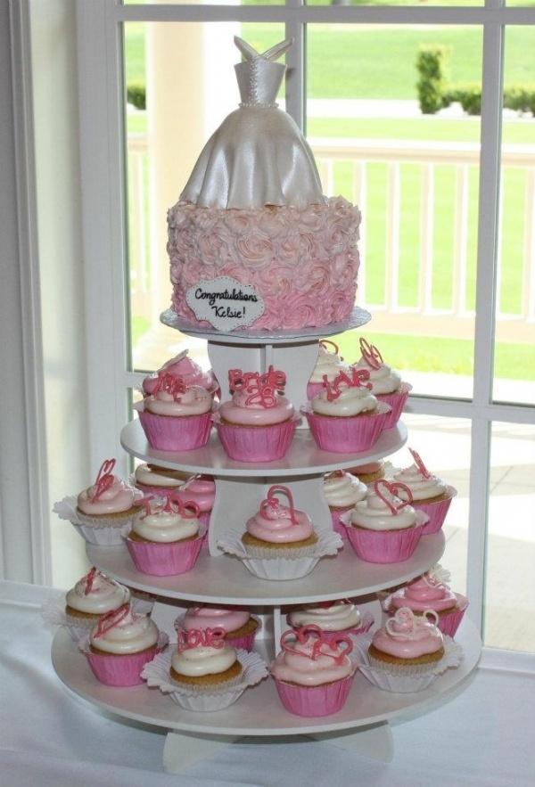 wedding dress bridal shower cake & cupcakes