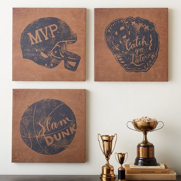 PB Teen Vintage Sports Canvas, Football MVP at Pottery Barn Teen -... ($49) ❤ liked on Polyvore featuring home, home decor, wall art, vintage sports wall art, pbteen, canvas murals, sports wall art and stretched canvas