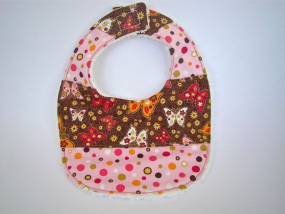 Handmade Baby Bib in Pink Orange and Brown by SofiAlgarvia on Etsy, €10.00