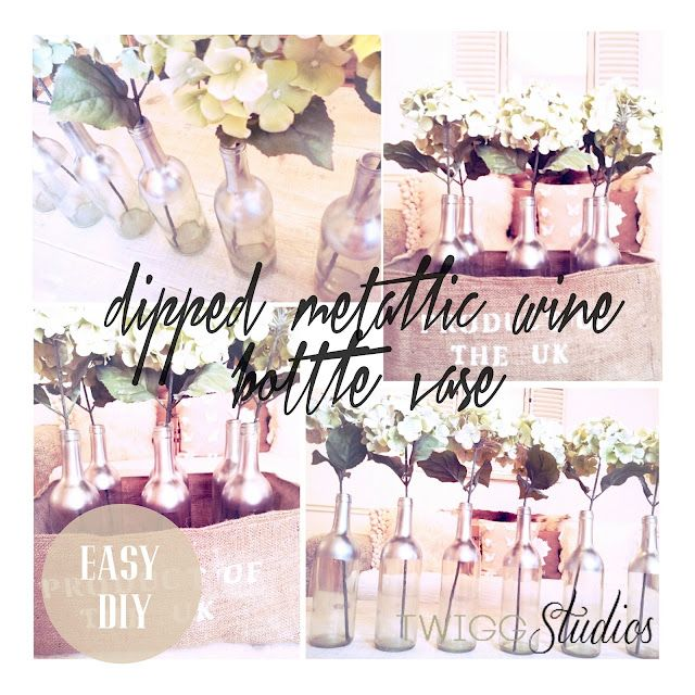 ..Twigg studios: dipped effect metallic wine bottle vasesCrafts Ideas, Crafty Time, Crafty Pants, Dips Metals, Metals Wine, Crafts Projects, Twigg Studios, Wine Bottles, Wine Bottle Vases Wedding