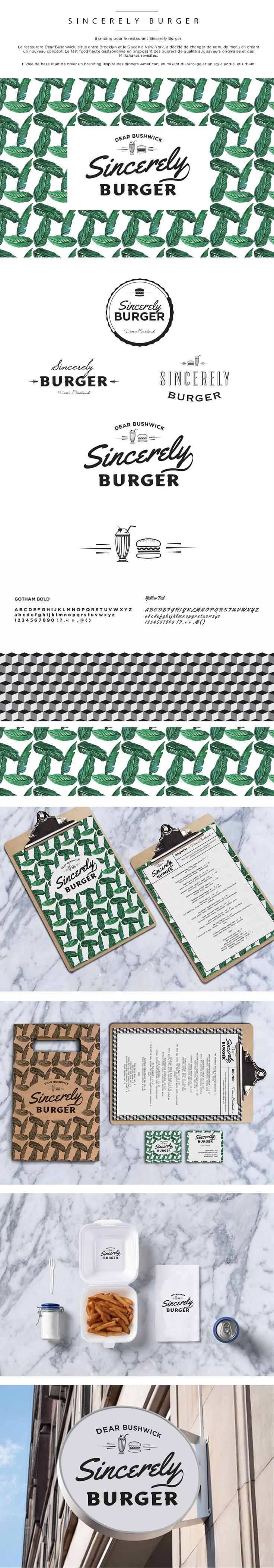 Sincerely Burger - Hello L-A Branding - identité visuelle - restaurant - burger -New-York-Brooklyn-Bushwick- logo - vintage - retro - menu - design - business - card - pattern - palm