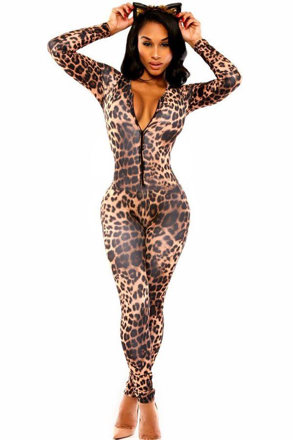 2015 New Sexy Women Autumn Bodycon Jumpsuit Overalls Open Front Leopard print catsuit Fashion Kitten Club on http://ali.pub/u8cz0