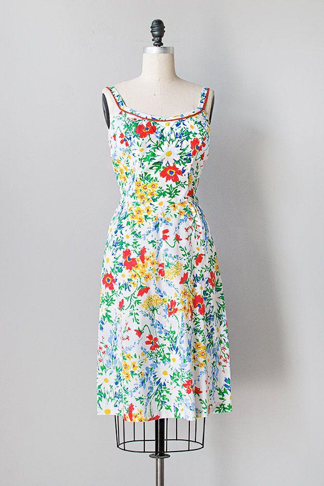 vintage 1970s bright multi color floral dress