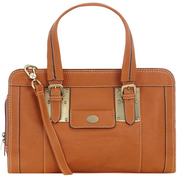 Tan zip buckle tote ($119) found on Polyvore