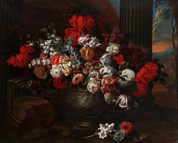 "Auction Lot: 35017197. Jean-Baptiste BOSSCHAERT (Antwerp, 1667 – 1746). ""Vase with ruins"". Oil on canvas. Relined. 115 x 145 cm."
