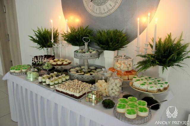Irish theme Wedding,Sweet table decoration,Fern,Green,Sweets/Irlandzkie wesele,Słodki stół,Paproć,Zieleń,Anioły Przyjęć