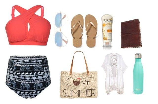 """Beach party outfit!"" by aldancer809 on Polyvore featuring Ray-Ban, Style & Co., Old Navy, Aveeno and S'well"