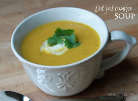 YUM - Thermomix pumpkin soup - I added ginger, capsicum and parsley instead of coriander & no cumin