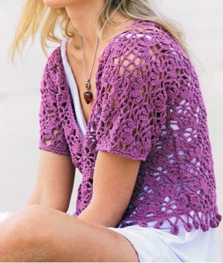 Patrones de tejido gratis jersey de ganchillo corto en - Patrones de ganchillo ...