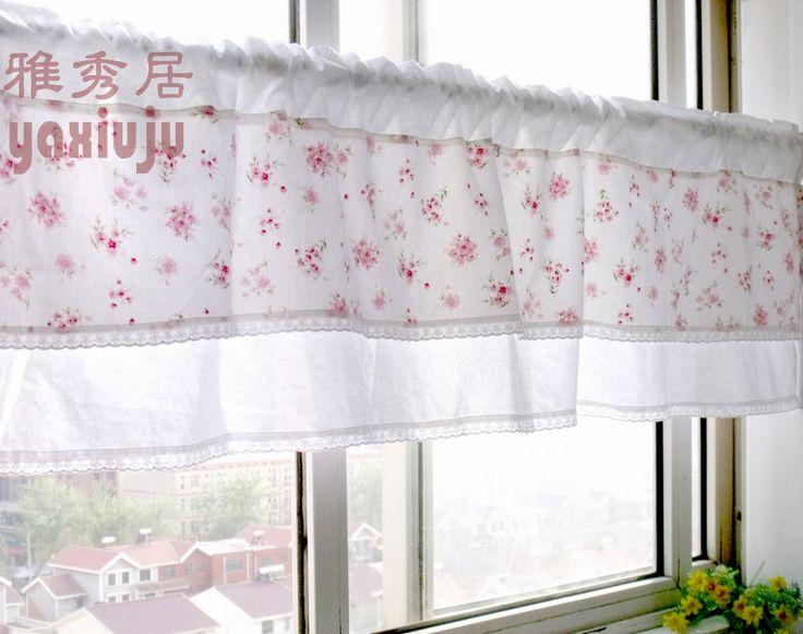 Frete grátis Floral pastoral bonito cortina de café semi - sombra pequeno curto cortina de cozinha cortinas 40 * 150 CM personalizado(China (Mainland))