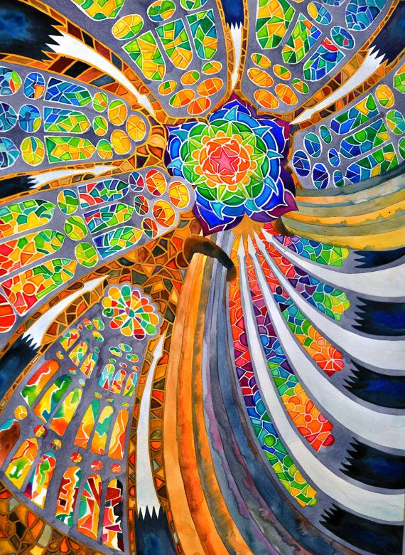 Sagrada Familia (Barcelona Spain Travel Rainbow Trippy Spiritual Mandala Stained Glass Antonio Guadi Architecture Watercolor Painting)