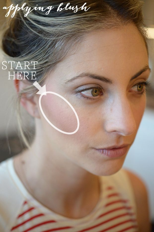 Blush Basics Application: Don't start on the apple of your cheeks (something I used to do), instead focus on the section right in front of your ear, down to the middle of the cheek. With a light touch, sweep in an oval motion concentrating on the area on your upper cheek bone.